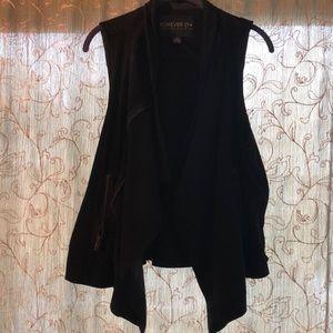 Black faux suede vest